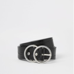 River Island Womens Black croc embossed double ring belt found on Bargain Bro from River Island - UK for £14