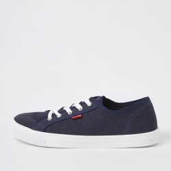 Mens River Island Levi's Blue lace-up canvas trainers