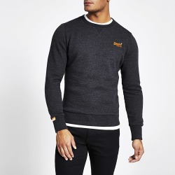 River Island Mens Superdry black embroidered sweatshirt