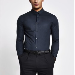 River Island Mens Navy long sleeve muscle fit shirt