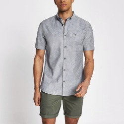 Mens River Island Maison Riviera Grey short sleeve shirt found on MODAPINS from River Island - UK for USD $27.55
