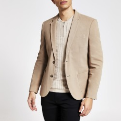 Mens River Island Brown single button skinny fit pique blazer