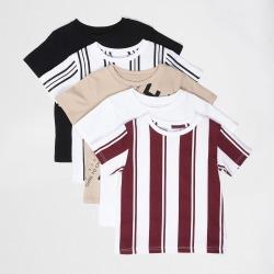 River Island Mini boys Beige stripe printed t-shirt 5 pack found on Bargain Bro UK from River Island - UK