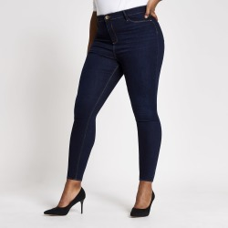 River Island Womens Plus dark Blue Molly mid rise jeggings found on MODAPINS from River Island - UK for USD $56.43