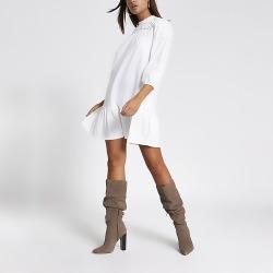 River Island Womens Cream broiderie long sleeve smock dress