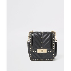 River Island Womens Black studded quilted cross body bag