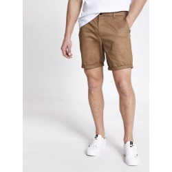 Mens River Island Brown Dylan slim fit shorts
