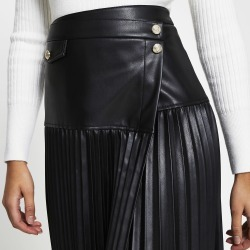 River Island Womens Black wrap front pleated midi skirt found on Bargain Bro UK from River Island - UK