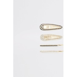 River Island Womens Gold colour embellished hair clip 4 pack found on Bargain Bro UK from River Island - UK
