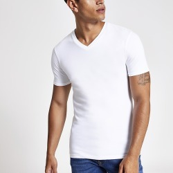 River Island Mens White muscle fit V neck T-shirt found on MODAPINS from RIver Island US for USD $16.00
