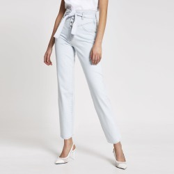 River Island Womens Light Blue high rise belted tapered jeans found on MODAPINS from River Island - UK for USD $52.94
