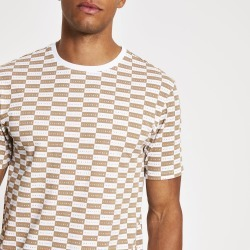 Mens River Island Brown Maison Riviera checkboard T-shirt