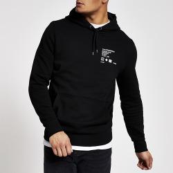River Island Mens Black printed slim fit hoodie