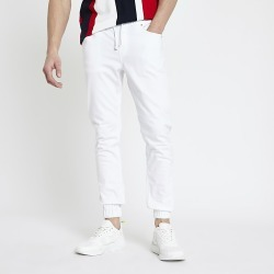 River Island Mens White skinny fit joggers