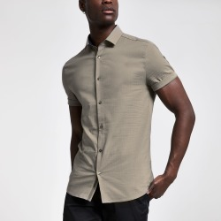 Mens River Island Brown textured slim fit short sleeve shirt