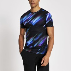 River Island Mens Prolific black printed muscle fit T-shirt