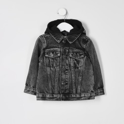 River Island Mini boys Black Prolific hooded denim jacket