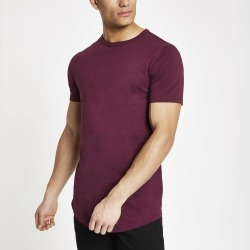Mens River Island Red curved hem longline T-shirt found on Bargain Bro UK from River Island - UK