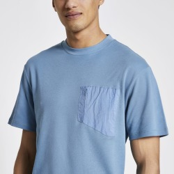 Mens River Island Pastel Tech Blue nylon pocket T-shirt