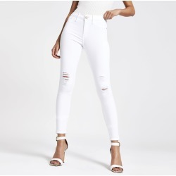 Womens White Molly ripped jeggings found on MODAPINS from River Island - UK for USD $50.83