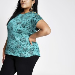 Womens Plus Green print short sleeve T-shirt found on MODAPINS from River Island - UK for USD $34.92
