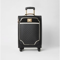 River Island Womens Black RI embossed four wheel suitcase found on Bargain Bro UK from River Island - UK
