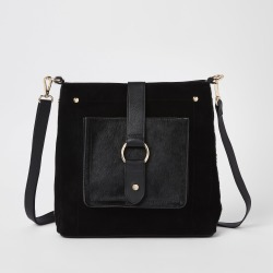 Womens Black leather hoop cross body bag found on MODAPINS from River Island - UK for USD $58.06