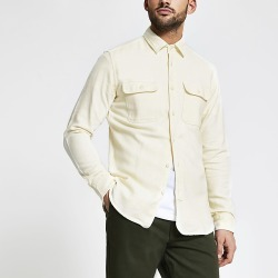 River Island Mens Selected Homme cream pocket front shirt