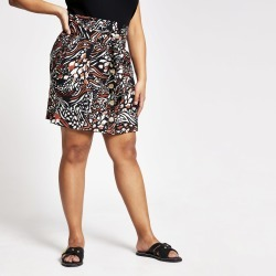 River Island Womens Plus Brown animal print button mini skirt found on Bargain Bro UK from River Island - UK