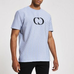 Mens River Island Criminal Damage Blue chest logo T-shirt