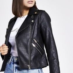 River Island Womens Black faux leather quilted jacket found on MODAPINS from RIver Island US for USD $120.00