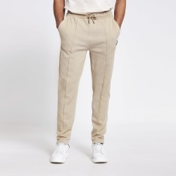 Mens River Island MCMLX Beige pique slim fit joggers