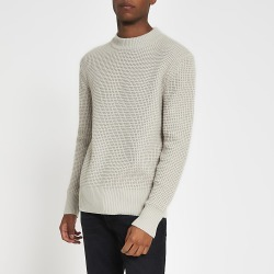 River Island Mens Stone slim fit waffle knitted jumper