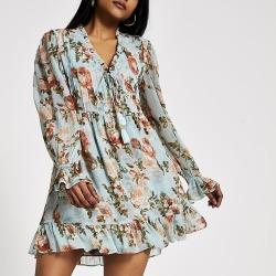 River Island Womens Petite blue floral mini smock dress