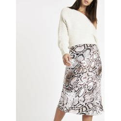 Womens Grey snake print bias cut midi skirt found on MODAPINS from River Island - UK for USD $25.41