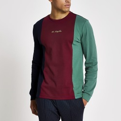 River Island Mens R96 navy colour blocked long sleeve T-shirt