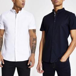 Mens River Island Maison Riviera slim fit Oxford shirt 2 pack