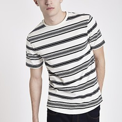 River Island Mens Ecru stripe short sleeve slim fit T-shirt found on MODAPINS from RIver Island US for USD $24.00