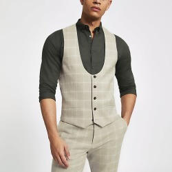 River Island Mens Stone check scoop neck waistcoat found on MODAPINS from RIver Island US for USD $80.00