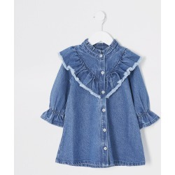 River Island Mini girls Blue frill neck denim dress found on Bargain Bro UK from River Island - UK