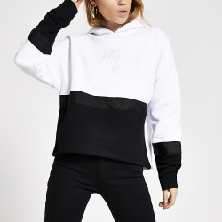 River Island Womens White Maison Riviera colour blocked hoodie