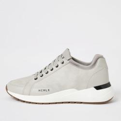 Mens River Island MCMLX ecru sock ankle runner trainers
