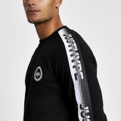 Mens River Island Hype Black tape long sleeve sweatshirt