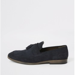 Mens River Island Blue suede tassel front textured loafers found on Bargain Bro UK from River Island - UK