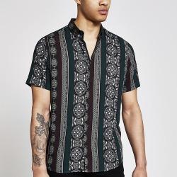 River Island Mens Black printed short sleeve slim fit shirt