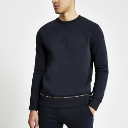 River Island Mens Maison Riviera navy taped sweatshirt