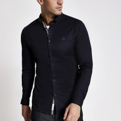 River Island Mens Navy muscle fit long sleeve Oxford shirt