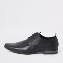 Mens River Island Black embossed tape derby shoes found on Bargain Bro UK from River Island - UK