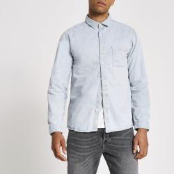 Mens River Island Light washed Blue regular fit denim shirt