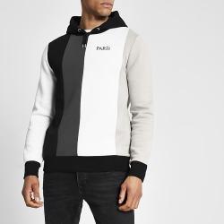 River Island Mens Black colour blocked slim fit hoodie